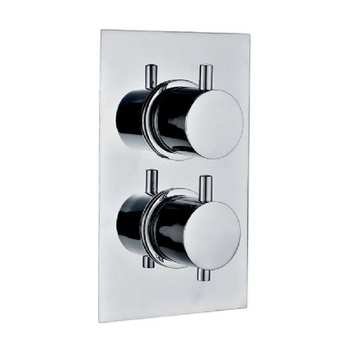 Abacus Emotion Round Thermostatic Dual Outlet Shower Mixer Valve - Chrome